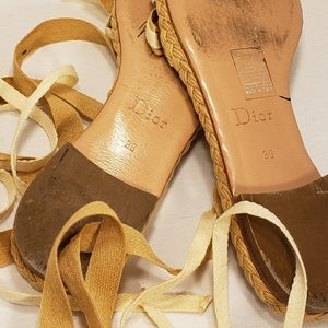 Dior Shoes - Dior Espadrille Leather Lace Up Sandals